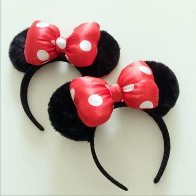 1 piece red Minnie mickey ear baby cartoon cute Headwear Bow women Hair bands minnie mouse ears headband for girls lady baby - Dailytechstudios