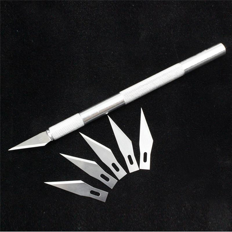1 set/ Metal Handle Scalpel Tool Craft Knife Cutter  Pen Knives Engraving Hobby DIY knife + 6 pcs Blade for Phone Laptop Repair