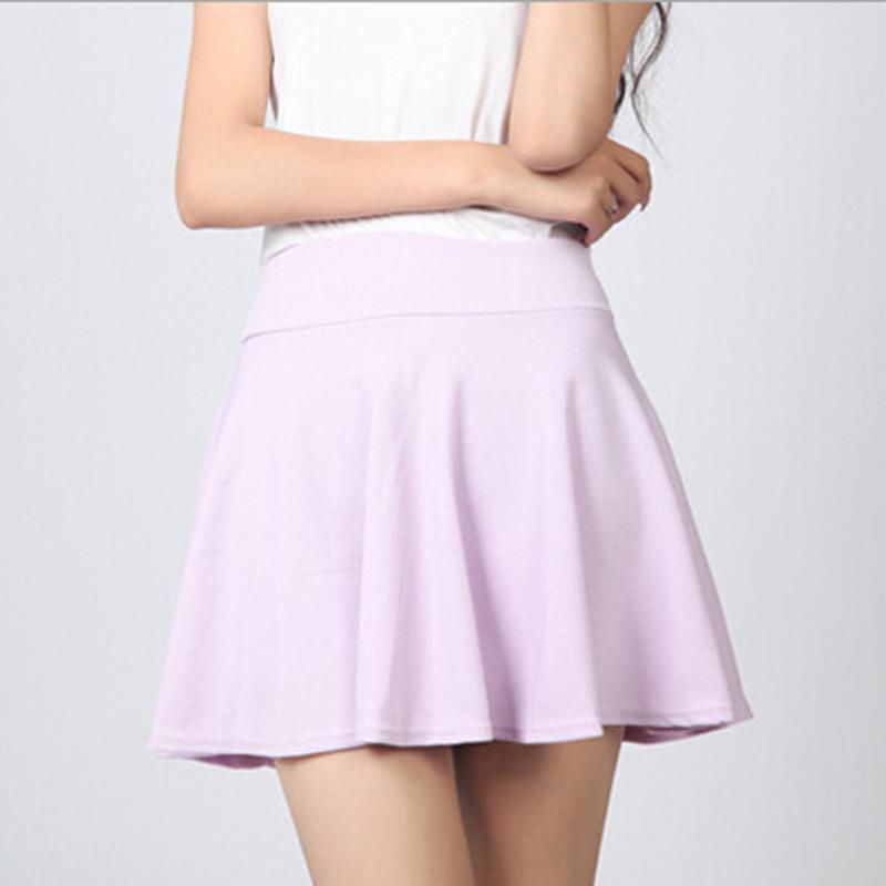 10 Colors Women Skirt Shorts Plus Size Candy Colors Red White Blue Pleated Skirts Prevent Exposure High Elasticity Pleated Saia Shorts Azure World- upcube