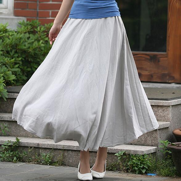 10 Solid Color New Long Skirts Womens 2017 Bohemian Casual Elastic Waist Linen  Circle Big Pendulum A Line Cotton Skirt