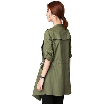 100% Cotton Summer Plus Size Stylish Women's Trench Coats Spring Slim Irregular Female Overcoat Women's Windbreaker Outerwear Trench I Esam Store- upcube