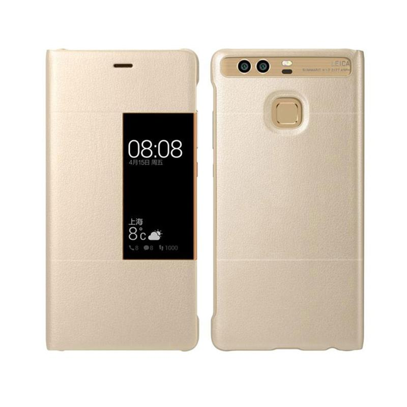 100% Original Huawei p9 Case cover Smart Window View Leather Cover for Huawei p9 hoesjes Full Protective Universal phone holder