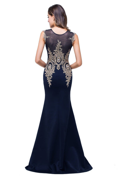 100% Real Images 2017 Mermaid Gold Lace Sheer Neck Appliques Black Evening Dress Long Robe De Soiree Longue Evening Gown Prom Dresses Babyonline Alice Bridal- upcube