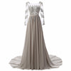 100% Real Photo A Line Backless Pleat Beaded Crystal Appliques Prom Dress 2017 Floor-Length Long Sleeves Vestido de Festa Cheap Prom Dresses Leisel Wedding Store- upcube