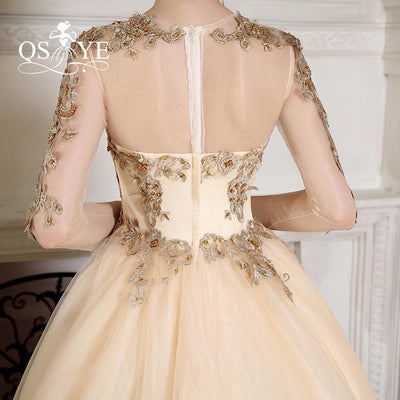 100% Real Photo New Charming Long Sleeve Arabic Muslim Ball Gown Luxury Gold Lace Sexy Illusion Back Sheer Beaded Wedding Gowns