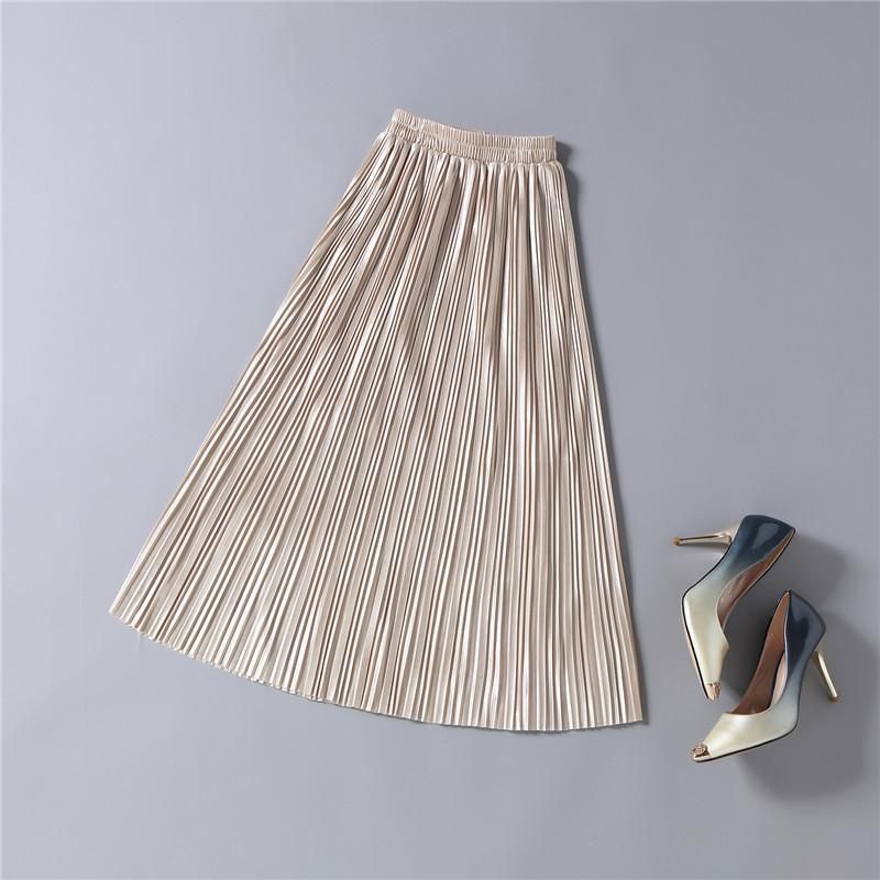 100% Real Pics 2017 Spring Women's Solid Long Pleated Skirt Chiffon Empire Ankle Length Skirts Female