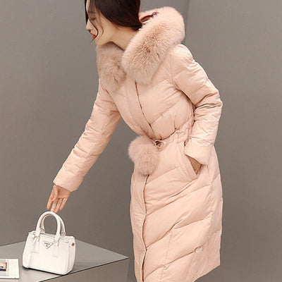 100% Really Fox Fur Coat 2015 Winter New Luxury Slim Long Thick Coats Solid White Duck Down Jacket Women Parka Direct Selling