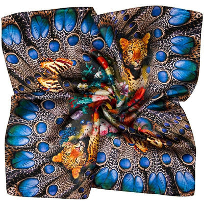 100% Silk Scarf Women Scarf Leopard Butterfly Flower Neckerchief Silk Bandana 2017 Top Small Square Silk Scarf Luxury Lady Gift