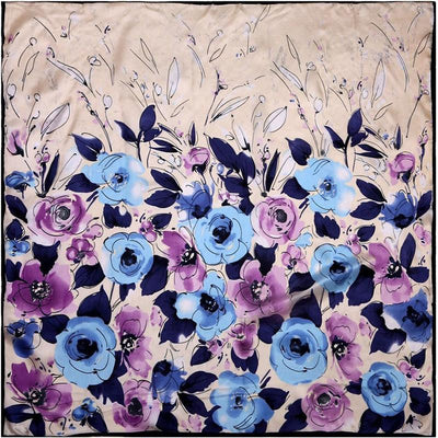 100% Silk Scarf Women Scarf Watercolor Flower Scarf Silk Bandana 2017 Top Hijab Middle Square Silk Scarf Wrap Hot Gift for Women
