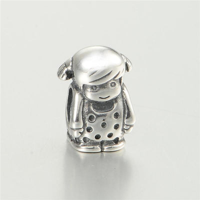 100% Sterling Silver Jewelry Bead Lovely Girl Figure Fit Charm Bracelet Silver 925 Fashion DIY Christmas Jewelry Gift