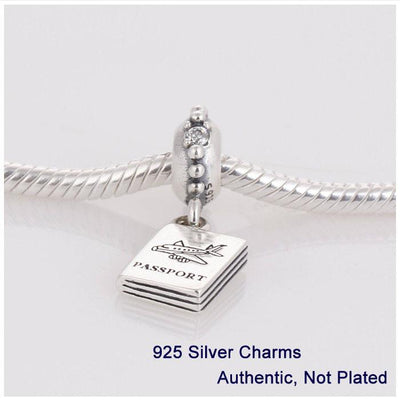 100% Sterling Silver Thread Beads Charms Passport Women DIY Jewelry Fits European Eu Brand Style Bracelets Free Shipping L255