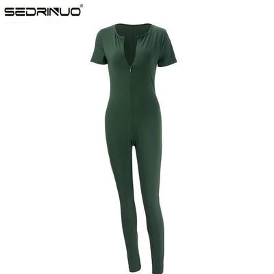 11.11 Sedrinuo 2016 Hot Sale New Fashion Womens Long Green Jumpsuit Sexy Bust Deep V Neck rompers women Bodycon  jumpsuit  Beauty Women Clothes wholesale(Drop shipping)- upcube
