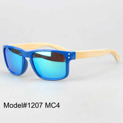 #1207 man's bamboo nature sunglasses UV400 Polarized lens with spring hinge 6 color choice - Dailytechstudios