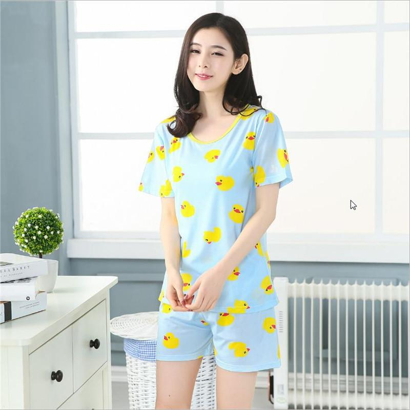 16 styles Women's fashion Short sleeved shorts Pajamas Sets animals printing Round Neck home clothes Breathable sleepwear Suit Pajama Sets zhang xiao zhang- upcube
