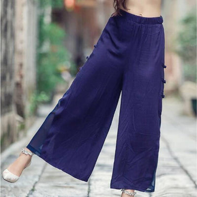 #1621 Summer linen pants women Thin Chinese style Wide leg pants Joggers women Loose Elastic waist See through pants White/Black - Dailytechstudios