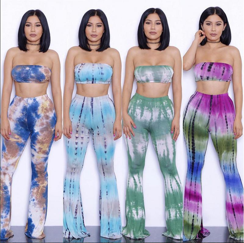 19 colors S-XXL sexy Tie Dye Printed Rompers Womens Two Piece Bodycon Jumpsuits Summer Long Pants Wide Legs Club Wear Bodysuit