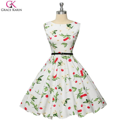 1950 Prom Dresses Vintage Dress Summer 2017 Robe Grace Karin Polka Dot Floral Retro Swing Pinup Casual Plus Size Women Clothing Prom Dresses Grace Karin Flagship Store- upcube