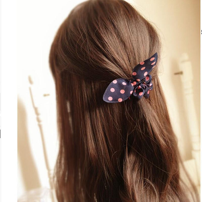 1PC Lovely Random Color Small Bunny Rabbit Ears Headband Hair Rope Rubber Bands  Hair Accessories Wholesale Hair Accessories Beeeee- upcube