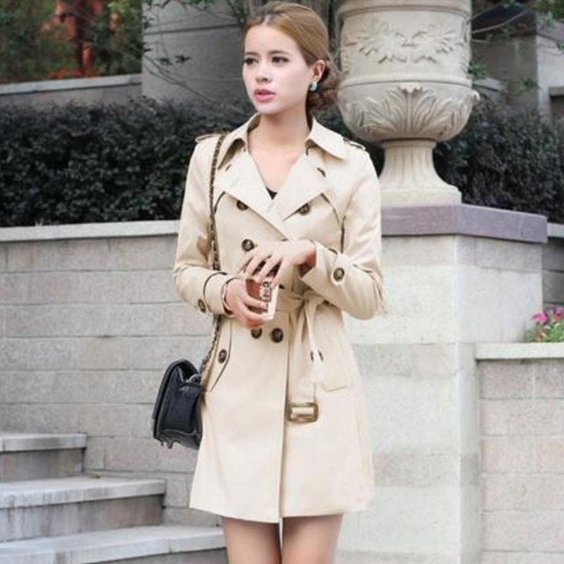 1PC Trench Coat For Women Double Breasted Slim Fit Long Spring Coat Casaco Feminino Abrigos Mujer Autumn Outerwear Z505