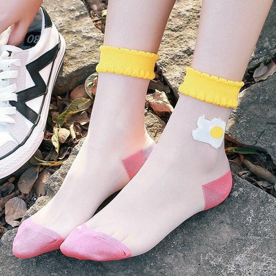 1Pair High Quality New Hot Sales Colorful Ultrathin Transparent Beautiful Crystal Lace Elastic Short Women Socks Funny Art Socks  Aunt's Drawer Store- upcube