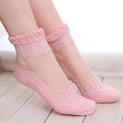 1Pair Women Lace Ruffle Ankle Sock Soft Comfy Sheer Silk Cotton Elastic Mesh Knit Frill Trim Transparent Ankle Socks bz676971 Socks New Lucky Store 719120- upcube