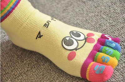 1Pair Women Socks Deporte Cotton Girl Five Fingers Socks Creative Cartoon Massage Gimnasio Non Slip Grip Female Toe Ankle Socks Socks Vanessa Ma's Store- upcube
