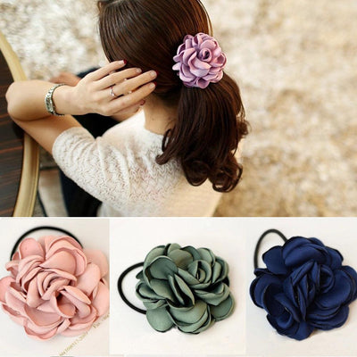 1Pc 2016 New Fashion Elgant Women Hair Band Rope Elastic Rose Flower Ponytail  Holder Scrunchie Party Accessories Hot Baseball Caps okdeals major Store- upcube