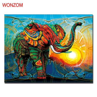 1Pc African Elephant Canvas Painting Abstract Cuadros Decoracion Unframed Wall Picture For Home Decoration 2017 Wall Art Poster Home Decor WONZOM Official Store- upcube