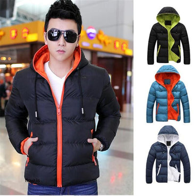 1Pcs Pop Casual Cotton Clothing Hooded 2017 Slim Mens Fashion Tops New Cotton Warm Hot Parka zengxiang Store- upcube