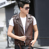 1pcs Men's leather motorcycle Vest jacket blazers 2017Spring Genuine leather sleeveless Jacket Men waistcoat short blazers Coats Leather Locke sophie Store- upcube