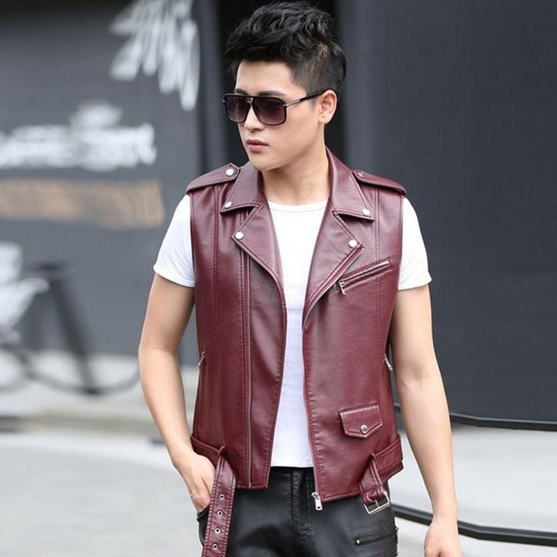 1pcs Men's leather motorcycle Vest jacket blazers 2017Spring Genuine leather sleeveless Jacket Men waistcoat short blazers Coats
