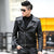 1pcs Men's leather motorcycle short jacket blazers 2017 Spring Genuine leather Small Jacket Men Skinny blazers Coats Young man