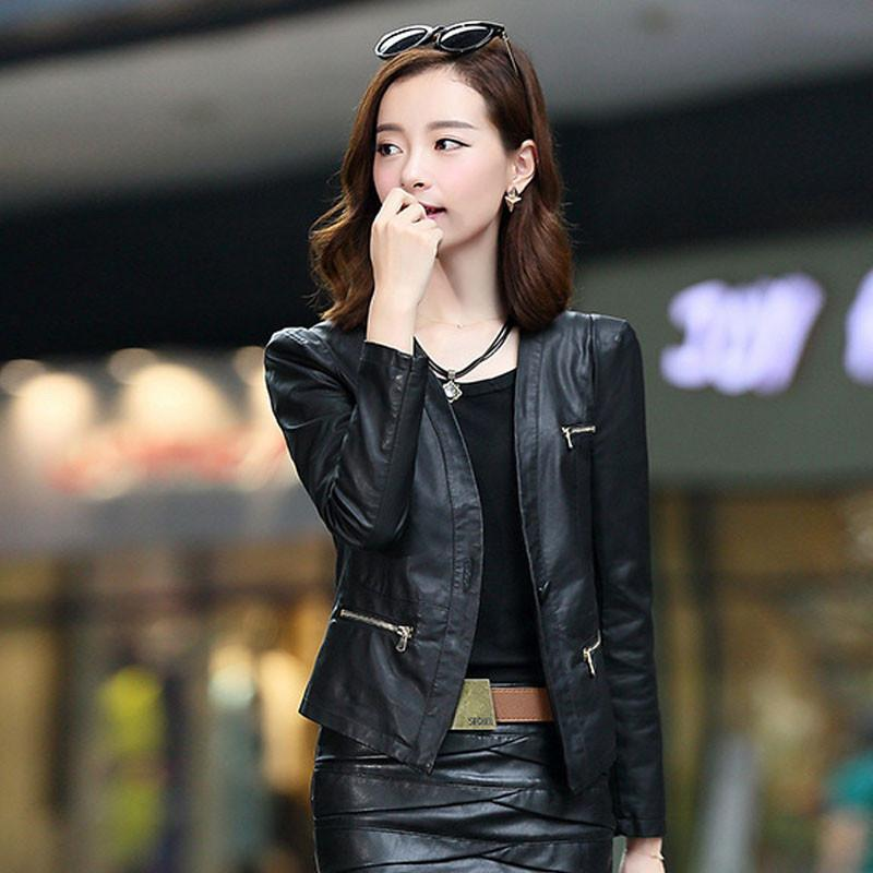 1pcs Women motorcycle leather jacket blazers 2017 Summer leather short suit Jacket ladies Skinny locomotive suit blazers coats Basic Jackets Locke sophie Store- upcube