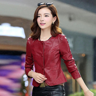 ac80d1cd3a1b 1pcs Women motorcycle leather jacket blazers 2017 Summer leather  single-breasted short Jacket ladies Skinny