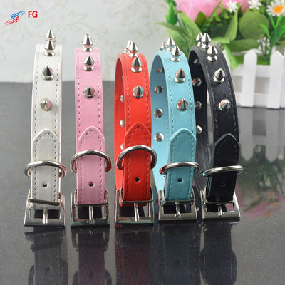 (20 Pieces/Lot)High Quality Pet Cat Dog Collar PU Leather Rivet Spiked Studded Adjustable Dog Neck Strap Collar - Dailytechstudios