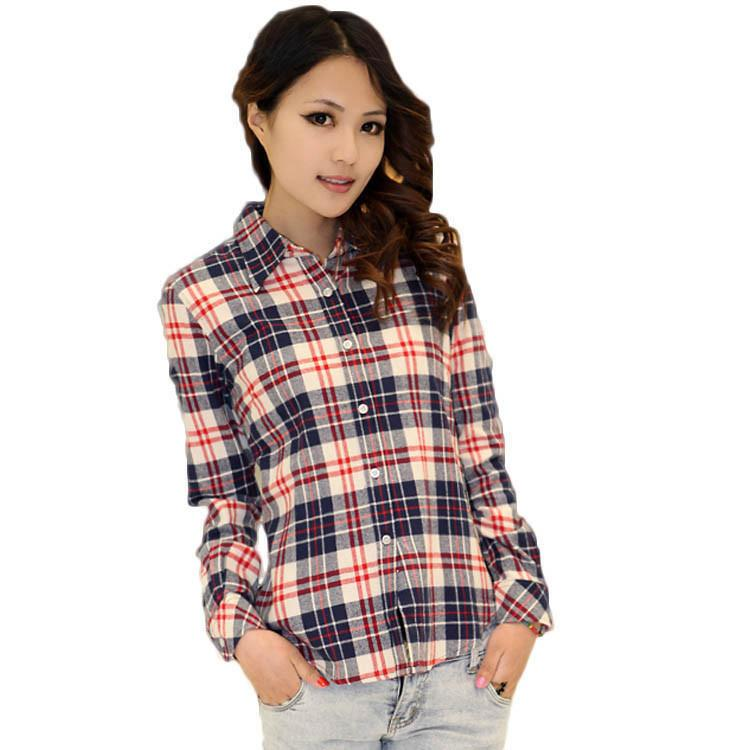 2015 New Fashion Womens Tops Casual Blouse Turndown Collar Long Sleeve Plaids Shirt S-XXL Blouses & Shirts ChuanKe Co.,Ltd. Store- upcube