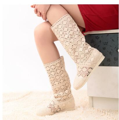 2015 New Women's Cut-Outs Fashion Shoes Knitted Line Gauze Boots High-leg Boots Summer Autumn Boots size35-41 Women's Pumps Honeycherry Store- upcube
