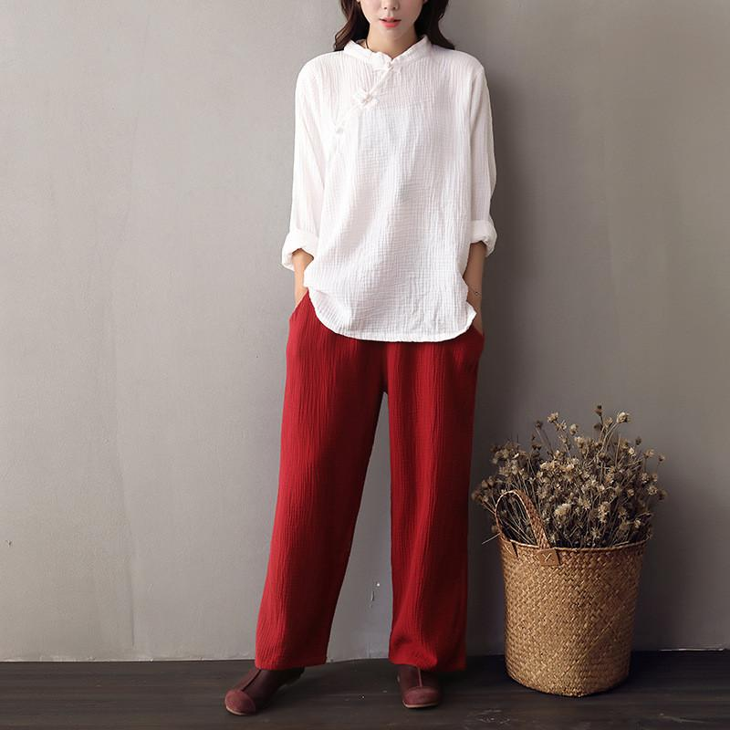 2016 Autumn New women's cotton Linen Wide Leg Pants Female solid color Loose literary Retro casual Elastic Waist Trousers Ladies