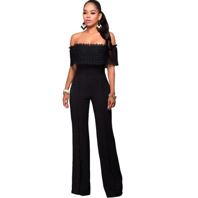 0aedf44a2280 2016 Hot Sale Rompers Womens Jumpsuit Sexy Black White Lace Elegant Off  Shouder Bodysuit For Women