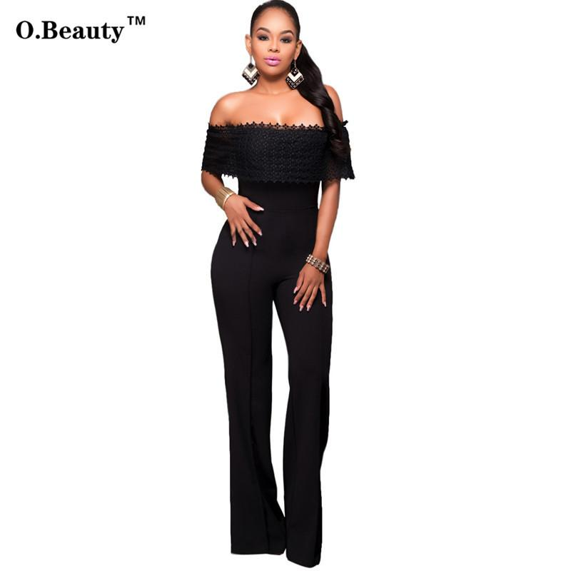 22a0561e84 2016 Hot Sale Rompers Womens Jumpsuit Sexy Black White Lace Elegant Off  Shouder Bodysuit For Women