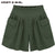 2016 Hot Summer Plus Size 5XL Women's Shorts Pleated High Waist With Pocket Wide Leg Thin Short Pants Khaki Army Green B67238R