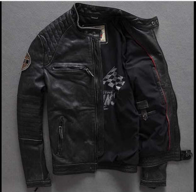 2016 New Fashion Men's Leather Jacket cowhide genuine leather biker men jacket Punk Motorcycle Bomber Winter Coats S-XXXXL Leather Cowhide and sheepskin FACTORY Store- upcube