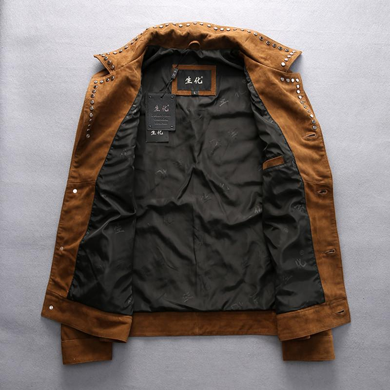2016 New Men's Brown Nubuck Leather Jacket Rivet Turn-down Collar Genuine Thin Sheepskin Men Winter Casual Coats M-XXXL