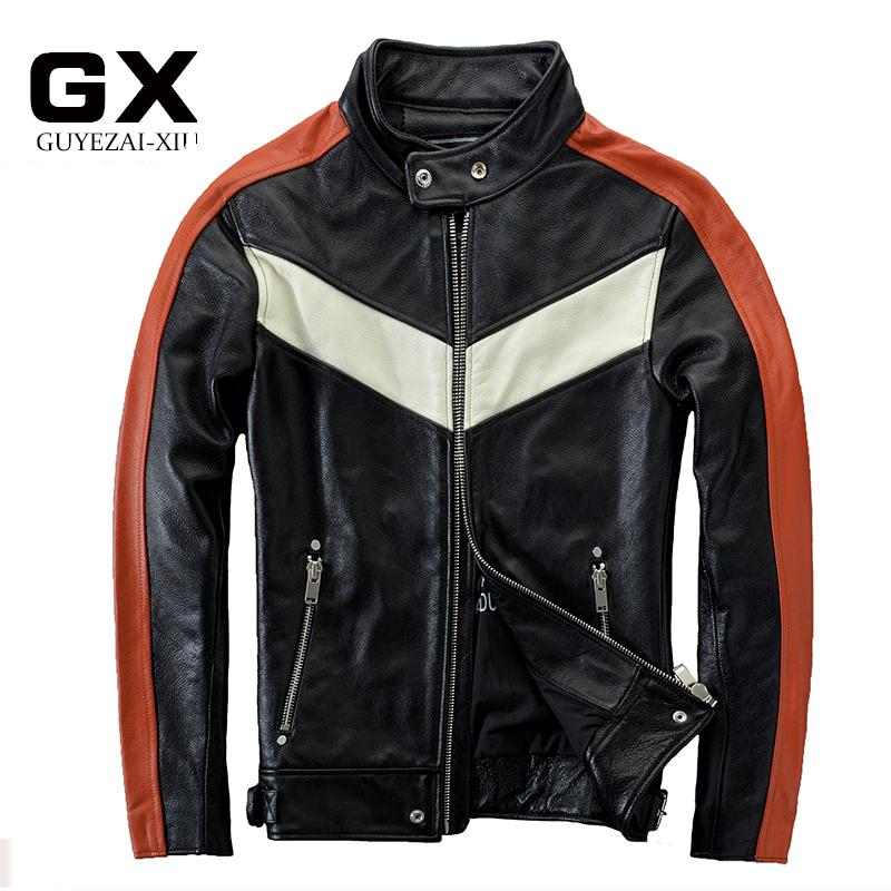 8c025a98dd6 2016 New Men s Genuine Leather Motorcycle Jacket Soft Cowskin Fashion  Contrast Color Stand Collar Slim Fit Winter Coats Write Review
