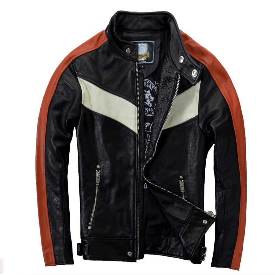 2016 New Men's Genuine Leather Motorcycle Jacket Soft Cowskin Fashion Contrast Color Stand Collar Slim Fit Winter Coats