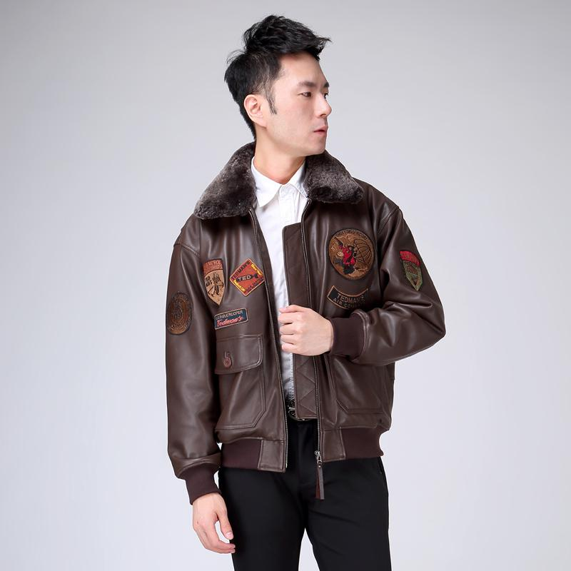 2016 New Men's Genuine Leather Pilot Jacket Wool Collar Fat loose large size sheepskin Male Short Slim Fit Aviator Winter Coats