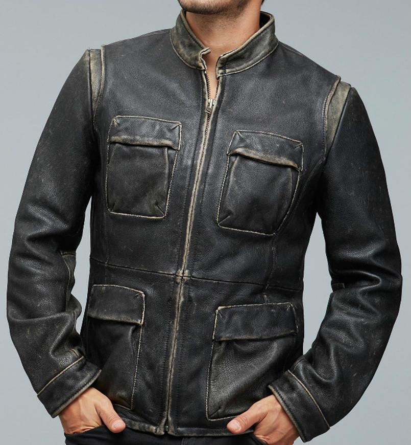 2016 New Men's M65 Vintage Motorcycle Leather Jacket Fashion Stand Collar Genuine Cowhide Multi-pocket Winter Military Coats