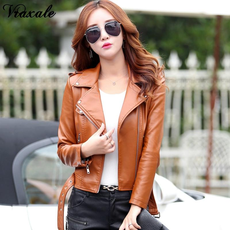 2017 Autumn Winter new clothing leather female short jacket slim design fashion motorcycle coat ladies Basic Jackets hundredth early- upcube