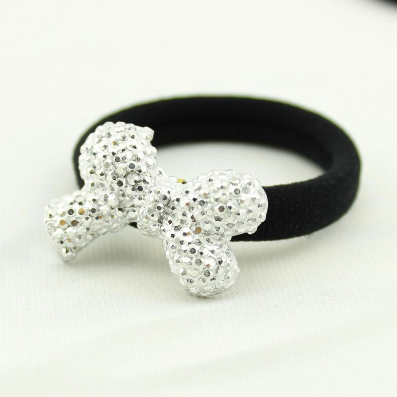 2017 New Arrivals Sweet woman fashion Solid Shining Rhinestones High Elastic Hair Bands Women elasticity Headwear