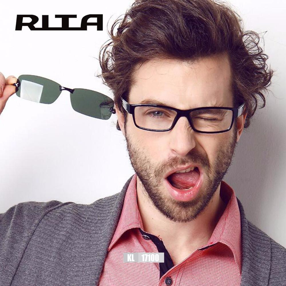 d5578778e2 2017 RITA Fashion Spectacle Frame Men Women With Clip On Sunglasses  Polarized Magnetic Glasses Male Driving